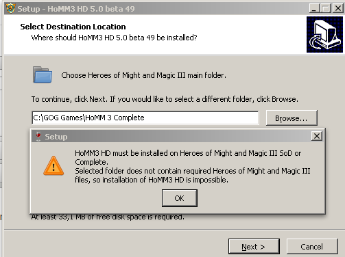 Cannot install HoMM3 HD